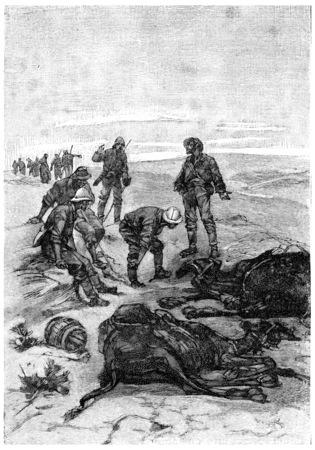 herrin: Tot, rief Tom Marix, Jahrgang gravierte Darstellung. Jules Verne Herrin Branican 1891.