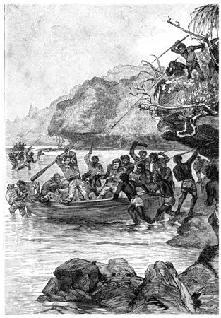 herrin: Captain John wurde von den Eingeborenen, Jahrgang gravierte Darstellung angegriffen. Jules Verne Herrin Branican 1891.