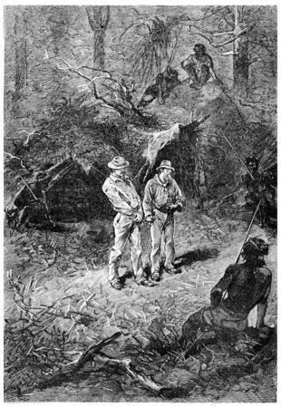 herrin: Guards Tag- und Nachtansicht, Jahrgang gravierte Darstellung. Jules Verne Herrin Branican 1891.