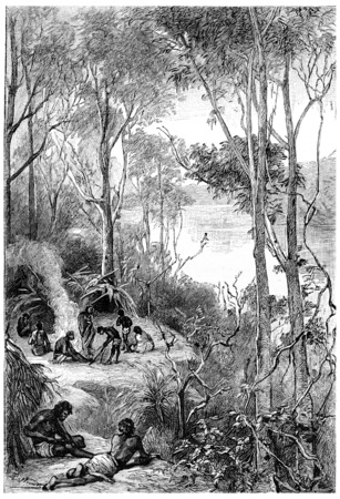 herrin: Ihr Lager war in einer Biegung des Flusses, Jahrgang gravierte Darstellung. Jules Verne Herrin Branican 1891.