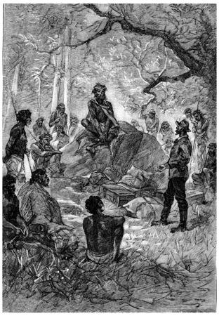 herrin: Die Anzeige, die ihn Len Burker Stoffe, Jahrgang gravierte Darstellung gemacht. Jules Verne Herrin Branican 1891.