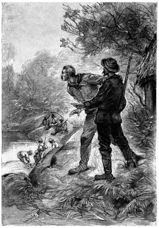 Captain John darted out of the hut, vintage engraved illustration. Jules Verne Mistress Branican, 1891. Editorial