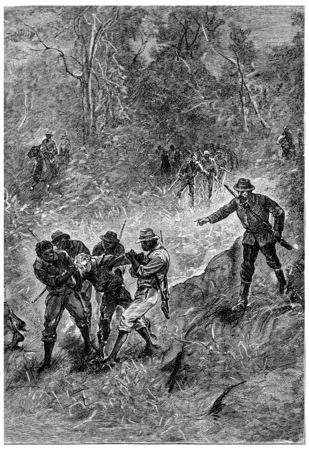 fitzroy: Black dragged towards the Fitzroy River, vintage engraving.