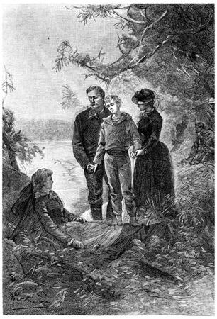 mistress: Both Godfrey present in their arms, vintage engraved illustration. Jules Verne Mistress Branican, 1891.