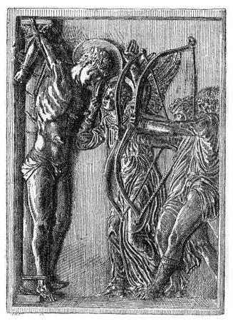 punish: Bronze plaque, vintage engraved illustration. Industrial encyclopedia E.-O. Lami - 1875. Stock Photo
