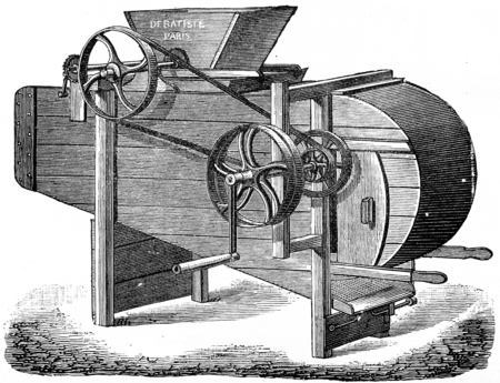 winnowing: Machine crushing and winnowing cocoa, vintage engraved illustration. Industrial encyclopedia E.-O. Lami - 1875. Stock Photo
