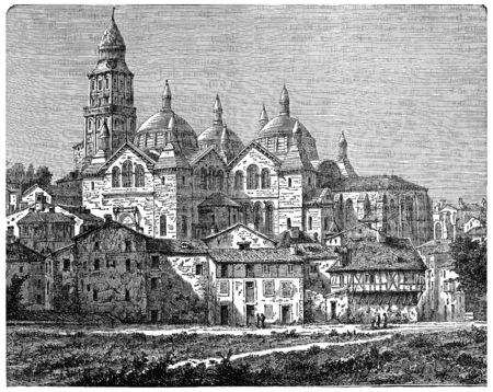 abbey: Church Saint-Front, Perigueux, vintage engraved illustration. Industrial encyclopedia E.-O. Lami - 1875. Stock Photo
