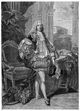 nobleman: The Duke of Gesvres in ceremonial suit, after Van Loo (1735), vintage engraved illustration. Industrial encyclopedia E.-O. Lami - 1875. Stock Photo