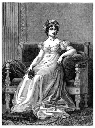 Madame de Stael, vintage engraved illustration. Industrial encyclopedia E.-O. Lami - 1875. Imagens