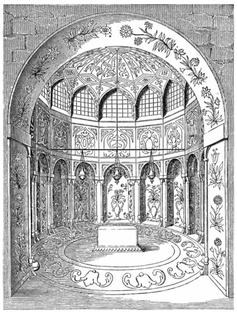 isfahan: Tomb of Abbas II (seventeenth century), in Isfahan, vintage engraved illustration. Industrial encyclopedia E.-O. Lami - 1875.