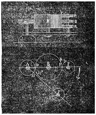 Ferguson paradox, vintage engraved illustration. Industrial encyclopedia E.-O. Lami - 1875.