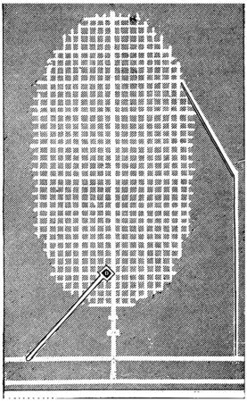 Map of dissolution chamber in mine Haselgebirge (Tyrol), vintage engraved illustration. Industrial encyclopedia E.-O. Lami - 1875. Banco de Imagens