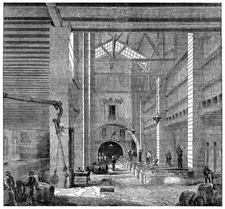 installing: Installing a Marseilles soap, vintage engraved illustration. Industrial encyclopedia E.-O. Lami - 1875.