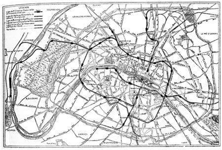 Plan du projet de chemin de fer métropolitain de Paris, illustration vintage gravé. E.-O. encyclopédie industrielle Lami - 1875. Banque d'images - 40010827