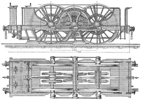 provision: Exterior view plane and locomotor Agudio, Provision proposed for transversee of access ramps Gotthard, vintage engraved illustration. Industrial encyclopedia E.-O. Lami - 1875.