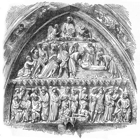 History of Saint-Etienne, lateral portal tympanum of Notre-Dame Cathedral, vintage engraved illustration. Industrial encyclopedia E.-O. Lami - 1875. Фото со стока