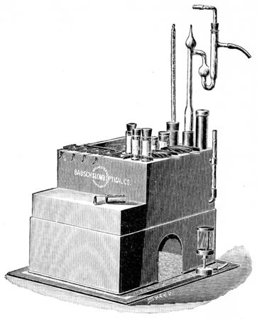 paraffin: Paraffin bath for infiltrating tissues in paraffin, vintage engraved illustration.