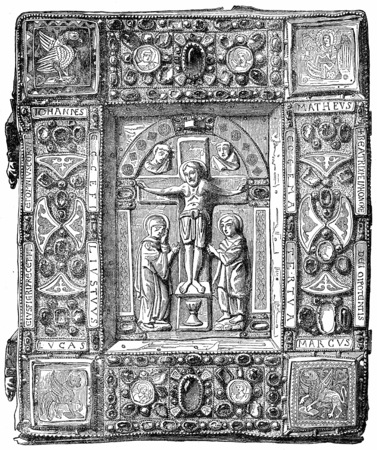 eleventh: Binding gold, adorned with precious stones, a Gospel Book of the eleventh century, Louvre, vintage engraved illustration. Industrial encyclopedia E.-O. Lami - 1875.