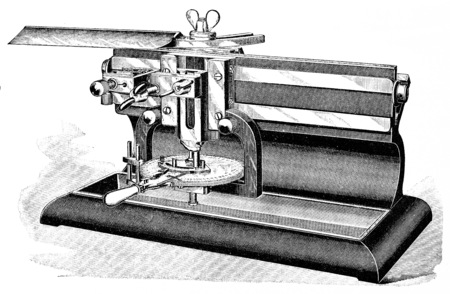 Laboratory microtome, vintage engraved illustration. Фото со стока