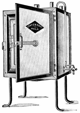 sufficient: Small incubator sufficiently large for individual work, vintage engraved illustration. Stock Photo