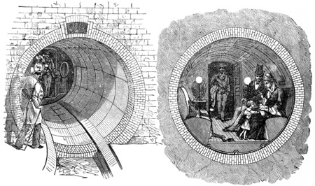 old new york: View of a tire being tried in New York, vintage engraved illustration. Industrial encyclopedia E.-O. Lami - 1875.