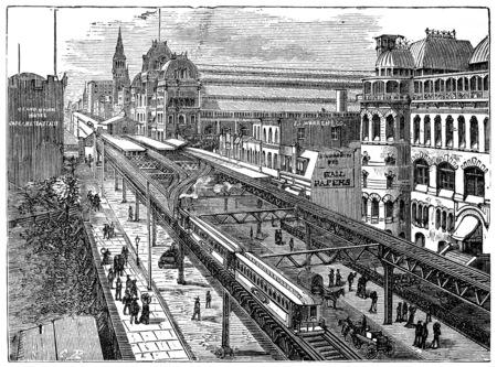 railway history: View of the Metropolitan Railway of New York, vintage engraved illustration. Industrial encyclopedia E.-O. Lami - 1875.