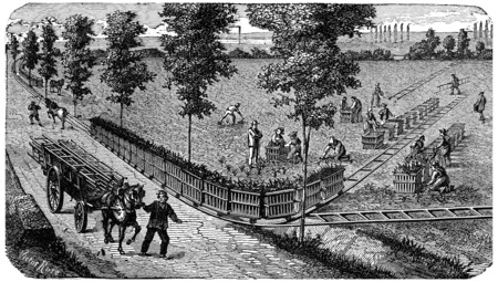 Transporting a process load on a portable rail, vintage engraved illustration. Industrial encyclopedia E.-O. Lami - 1875.