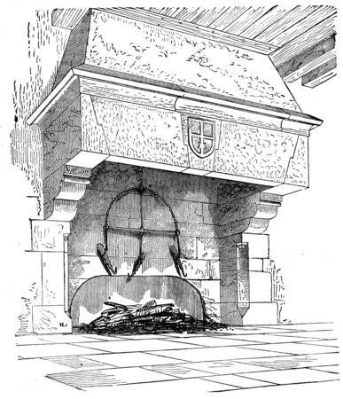 abbey: Kitchen chimney Abbey Blanche Mortain, vintage engraved illustration.  Stock Photo
