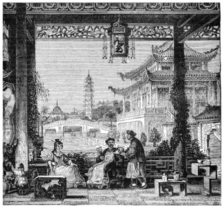 Inside the house of a mandarin, vintage engraved illustration. Industrial encyclopedia E.-O. Lami - 1875.