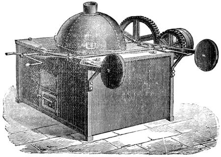 Koffiebrander bal, vintage gegraveerde illustratie. Stockfoto