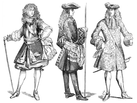 lieutenant: General Officer (1670), an infantry officer (1703) and lieutenant of the Guards (1683), vintage engraved illustration. Industrial encyclopedia E.-O. Lami - 1875.