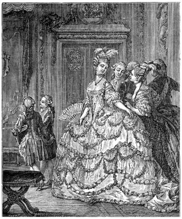 eighteenth: The lady of the palace of the queen, after Moreau (eighteenth century), vintage engraved illustration. Industrial encyclopedia E.-O. Lami - 1875.