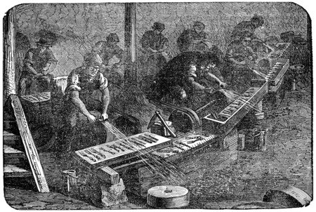 Molding workshop, vintage engraved illustration. Industrial encyclopedia E.-O. Lami - 1875. Editoriali