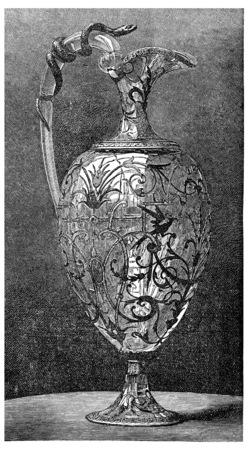 ewer: Rock crystal ewer, Froment Meurice, vintage engraved illustration.