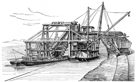 pulley: Landing Floating used to stabilize the Danube, vintage engraved illustration. Industrial encyclopedia E.-O. Lami - 1875. Editorial