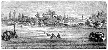 traction engine: Steam Ploughing, vintage engraved illustration.