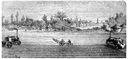 Steam Ploughing, vintage engraved illustration.