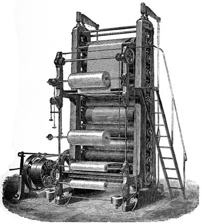 almanac: Ten calender rolls, vintage engraved illustration.