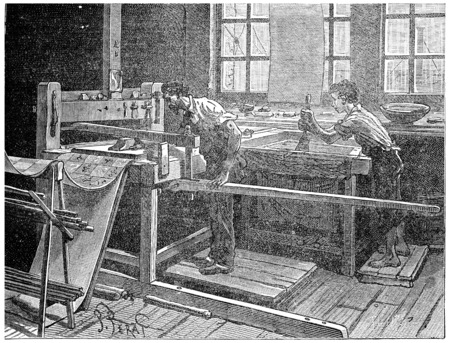 antique factory: Printing table to the board, vintage engraved illustration. Stock Photo