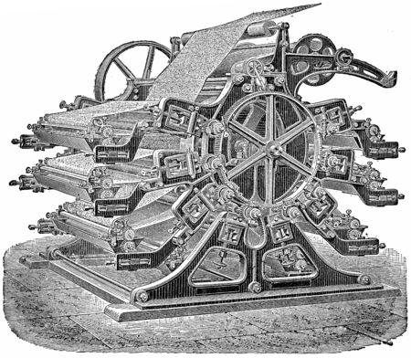 industrial machine: Printing machine wallpaper, vintage engraved illustration. Industrial encyclopedia E.-O. Lami - 1875. Stock Photo