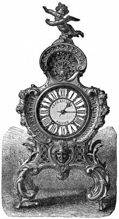 pendulum: Pendulum of rococo style, vintage engraved illustration.