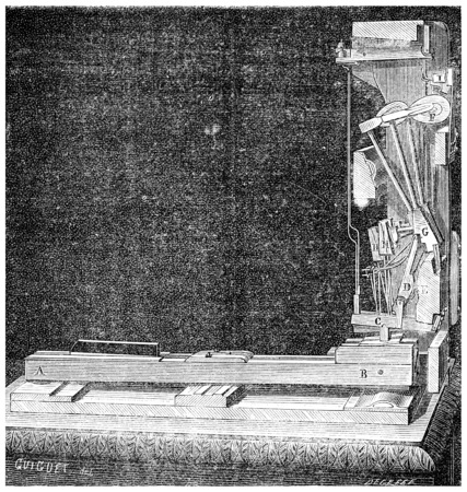 Mechanism of an upright piano, vintage engraved illustration. Industrial encyclopedia E.-O. Lami - 1875. 版權商用圖片
