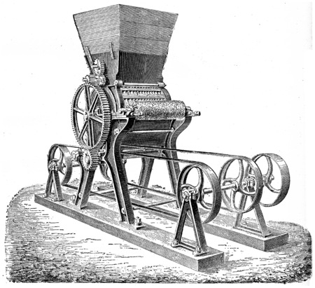 industrial machine: Molding machine sugar ingots or bars, vintage engraved illustration. Industrial encyclopedia E.-O. Lami - 1875.