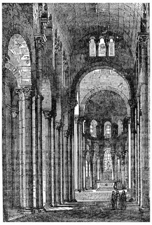 collegiate: Interior of Notre-Dame du Port in Clermont, vintage engraved illustration. Industrial encyclopedia E.-O. Lami - 1875.