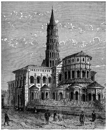 toulouse: Apse of Saint-Sernin in Toulouse, vintage engraved illustration. Industrial encyclopedia E.-O. Lami - 1875.