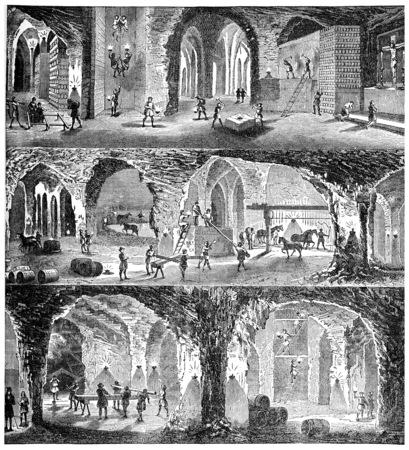 Bekijk mijn Wieliczka, vintage gegraveerde illustratie. Industrial encyclopedie E.-O. Lami - 1875.