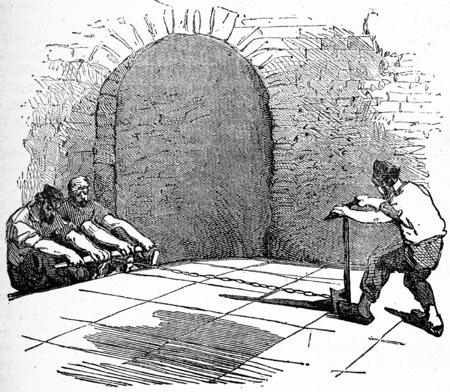 Marseille soap cutting, vintage engraved illustration. Industrial encyclopedia E.-O. Lami - 1875. Stok Fotoğraf - 40111346