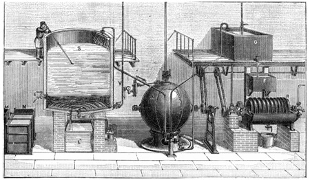 isolation: Soap making in isolation, extraction with glycerin, vintage engraved illustration. Industrial encyclopedia E.-O. Lami - 1875.