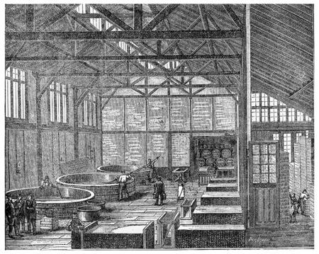 antique factory: Parisian soap, vintage engraved illustration. Industrial encyclopedia E.-O. Lami - 1875. Stock Photo