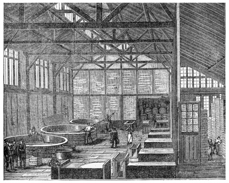 Parisian soap, vintage engraved illustration. Industrial encyclopedia E.-O. Lami - 1875. Stok Fotoğraf